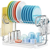 Veckle 2 Tier Dish Drainer Non-Slip Dish Drying Rack with Removable Drain Board (Silver)