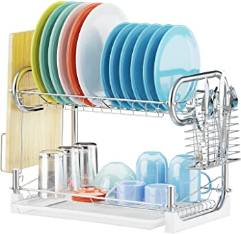 2-Tier Dish Drainer Non-Slip Dish Drying Rack with Removable Drain Board