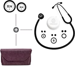 BJÖRN HALL Scandinavian Classic Matte Black Stethoscope, Crushed Violet Carrying Case & Registered Nurse RN Diaphragms | Lightweight & Stylish | Perfect Gift for Any Nurse