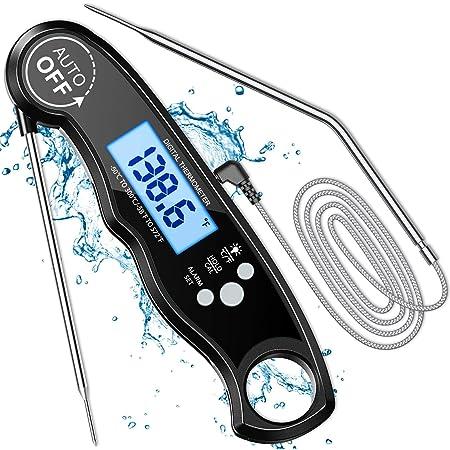 Cocoda Thermomètre Cuisine, LCD Thermomètre Cuisson Digital à Lecture Instantanée avec Double Sonde & Fil Long, Réglage d'Alarme & Aimant, Température Préréglée pour Viande, BBQ, Pâtisserie, Lait etc