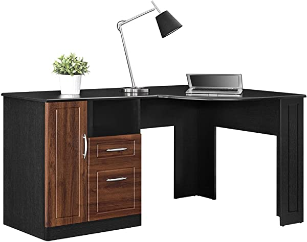 L Shaped Computer Desk Modern Home Office Workstation Contemporary Writing Table With 2 Drawers And An Open Shelf
