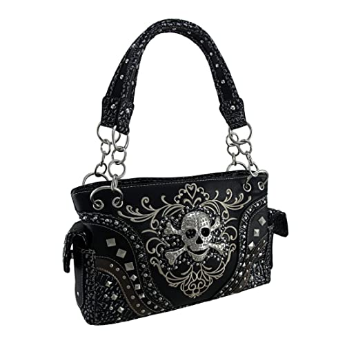 6c31d8b25a6 Embroidered Concealed Carry Rhinestone Skull Studded Purse