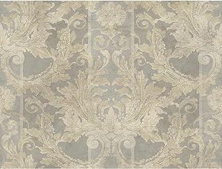 York Wallcoverings GF0790 Gold Leaf Aida Damask W/Stripe Wallpaper, Metallic Silver, Metallic Pewter, Cream, Beige