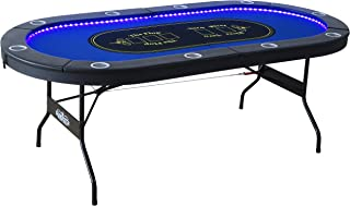 Barrington Texas Holdem 10 Player Poker Table with Inlaid LED Lights, Padded Rails and Cup Holders - No Assembly Required
