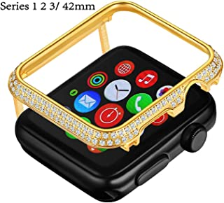 Callancity Gold Plated Face Cover Crystal Case Decoration Bezel Compatible with Apple Watch Series 3 2 1 42mm for Men/Women