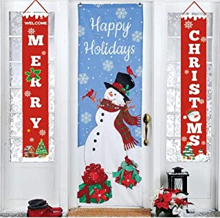 SPOKKI Christmas Sign-Welcome Merry Christmas Bright Porch Banner DIY Happy Party Banner Decorations Hanging Decor for Indoor Outdoor Door Home Office (Red)(Christmas)