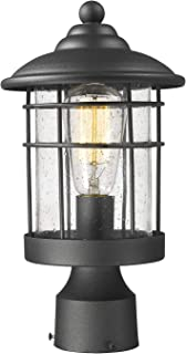 Emliviar 1-Light Outdoor Post Light, Exterior Post Lantern in Black Finish with Seeded Glass, 1803CW2-P
