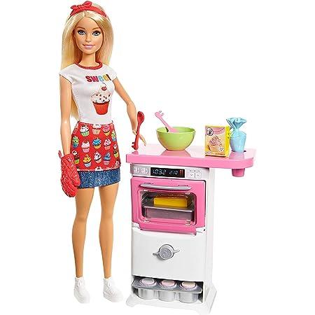 Barbie Playset Pasticceria con Bambola Bionda, Forno e Tanti Accessori per Cucinare, Giocattolo per Bambini 3+Anni,FHP57