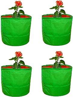 "YUVAGREEN High Density Polyethylene Grow Bags, Green, 9""X9"", Pack Of 4"