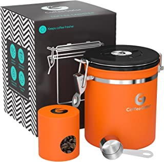 Coffee Canister - Coffee Gator Stainless Steel Coffee Container - Fresher Beans and Grounds for Longer - Date-Tracker, CO2-Release Valve, Measuring Scoop and Travel Jar - Medium, Orange