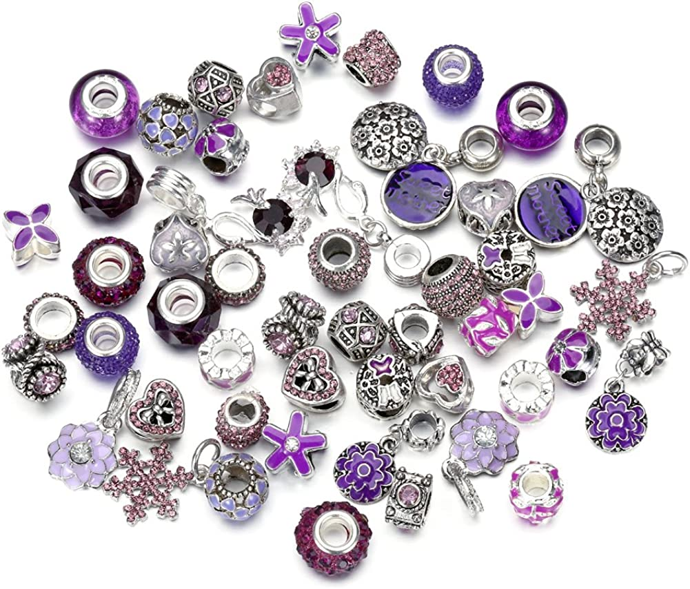 Pansona 10 Max 44% OFF Colors Assorted Silver Bead C Tone Charms 2021 model Rhinestones