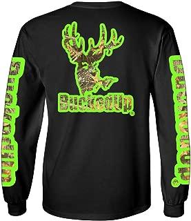 BUCKED UP BuckedUp Long Sleeve Black with Green Camo Logo