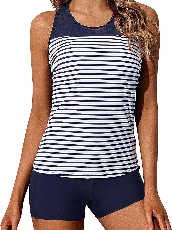 FRSH MNT Tankini Swimsuits for Women Loose Fit Floral Printed Swimwear Two Piece Bikini Swimming Beachwear Bathing Suits