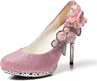 Women's Silver Lace Flower Pearls Closed Toes Wedding Shoes Pumps