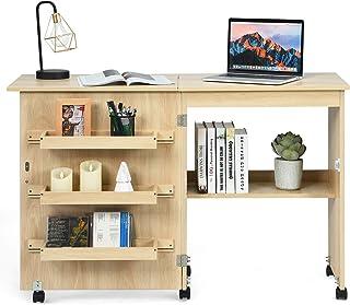 DREAMADE Table pour Machine à Coudre en Bois Pliable et Mobile, Armoire Machine à Coudre avec 4 Étagères, Table à Rallonge...