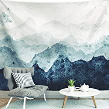 BJYHIYH Extra Large Tapestry Wall Hanging Watercolor Blue Mountain Tapestry Nature Landscape Tapestries for Bedroom Living Room Dorm Decoration(90