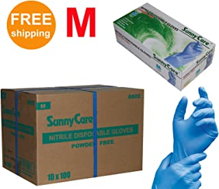 SUNNYCARE #8802 Nitrile Disposable Gloves Powder Free Size: Medium 1000pcs/Case ;100pcs/box;10boxes/case