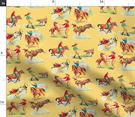 Vintage Cowgirl Color Fabric Block Western