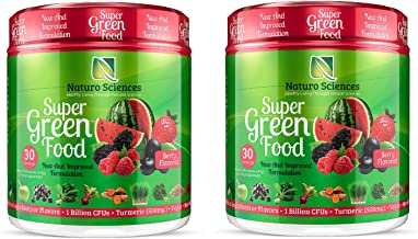 100% Natural Greens Powder, Over 10 Hard to Get Superfoods, Greens Supplement Powder 1 Month's Supply, Green Organic Blend with 1 Billion CFU Probiotics and 500mg Turmeric, Berry Flavor, 2 Pack