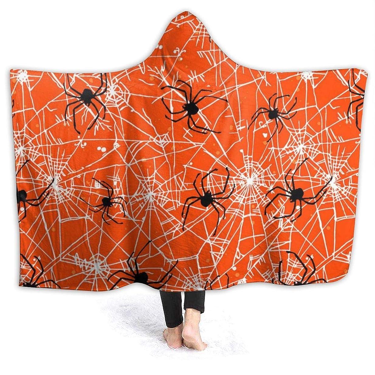 用心すると闘う可動YONHXJLAZ Orange Spiders Halloween Fabric 毛布 フード付き ブランケット 大判 タオルケット厚手 オールシーズン快適 軽量 抗菌防臭 防ダニ加工 オシャレ 携帯用,車用,オフィス用