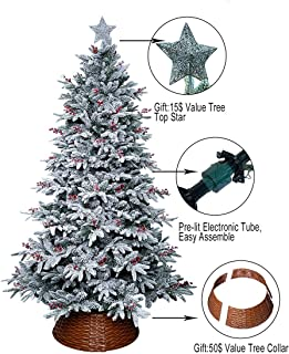 ABUSA Flocked Christmas Tree 7.5 ft Prelit Clearance with 700LED Clear Lights 1452 Branch Tips