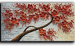 YaSheng Art - دست نقاشی نقاشی نقاشی روی نقاشی بافت پالت چاقو قرمز گل نقاشی دکوراسیون مدرن خانه دکوراسیون دیوار هنر نقاشی 3D رنگ گل درخت نقاشی های چوبی آماده به قطع 24x48inch