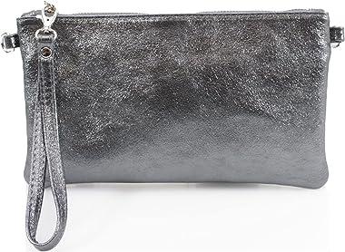 Clicktostyle Damen-Clutch-Tasche aus metallischem Leder, glänzend, schimmernd