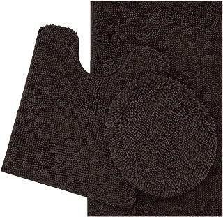 ITSOFT 3pc Non-Slip Shaggy Chenille Bathroom Mat Set, Includes U-Shaped Contour Toilet Mat, Bath Mat and Toilet Lid Cover, Machine Washable, Chocolate Brown