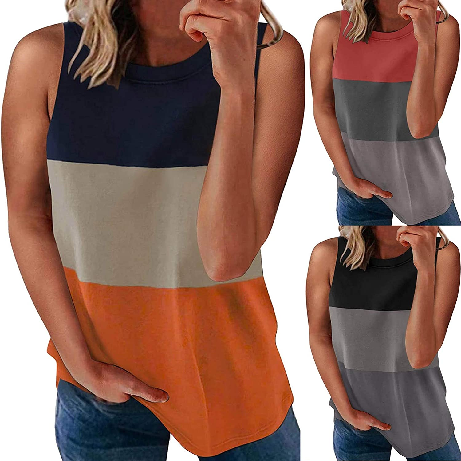 AODONG Tank Tops for Women Casual, Womens Fashion Cami Summer Sleeveless Loose Fit Tee Shirts Crop Tops Basic Blouse