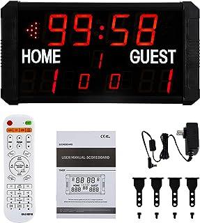 Spolehli Scoreboard Multisport LED Scoreboard with Remote Control Indoor Wall-Mount Portable Tabletop Scoreboard for Baske...