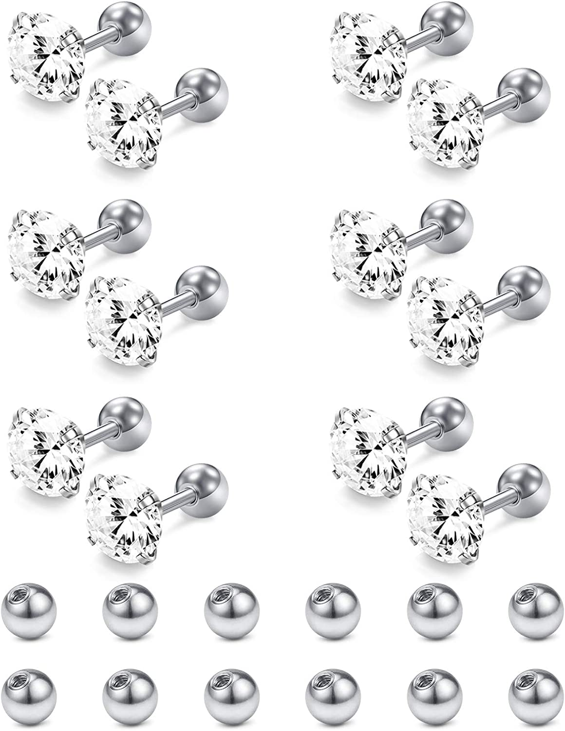 Briana Williams 6pairs 18g Stud Earrings Stainless Steel Cartilage Helix Tragus Earring Studs Piercing Jewelry 6mm Studs Bar 3-8mm Clear Black CZ with Replacement Balls