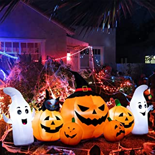 Halloween Inflatable Decoration 7 FT Long Inflatable 5 Pumpkins Patch Lanterns with Black Cat with Build-in LEDs Blow Up I...