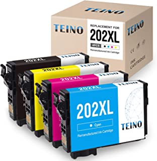 TEINO Remanufactured Ink Cartridges Replacement for Epson 202XL 202 T202XL T202 for Workforce WF-2860 Expression Home XP-5100 (Black, Cyan, Magenta, Yellow, 4-Pack)