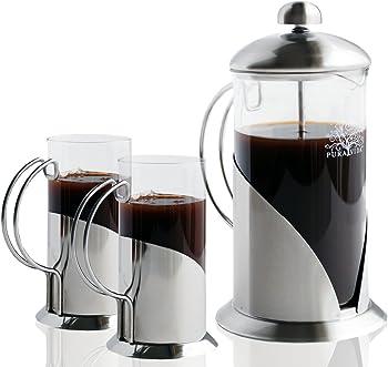 Pura Vida 34 oz French Press Coffee Maker Set with 2 Luxury Mugs