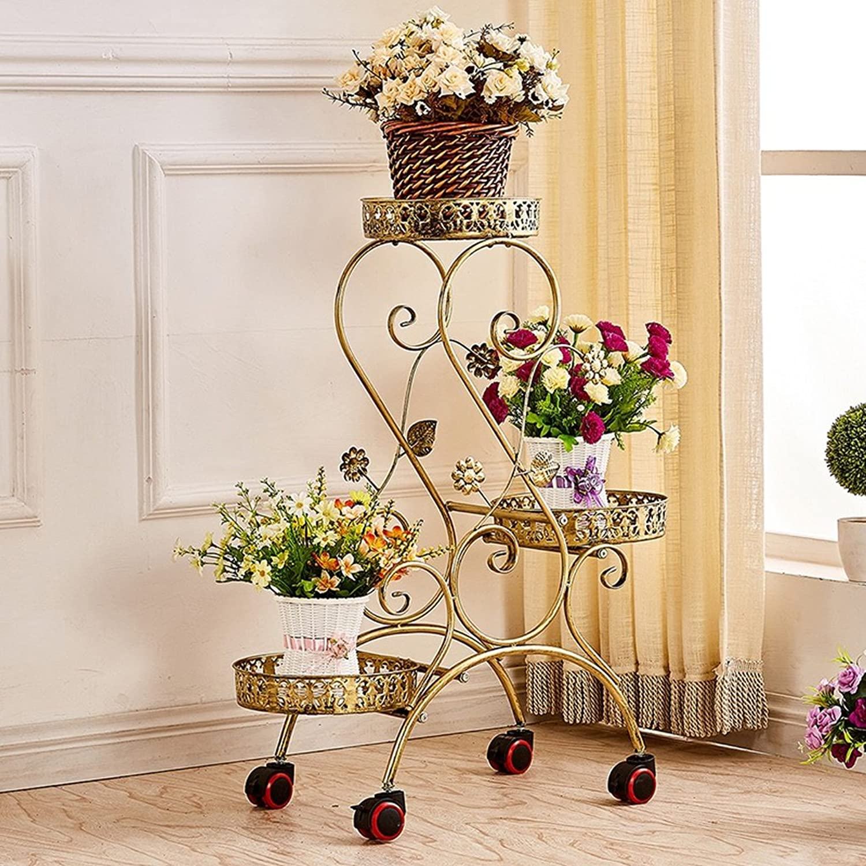 Art Home Store Flower Stand Shelf Multi Layer Movable Push-Pull Flower Pot Rack with wheels Flower Diaplay Shelf Living Room Balcony Flower Shelf (color   Bronze)