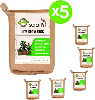 Scrafts Jute Grow Bags Round Set of 5-5 Gallon (8x9)