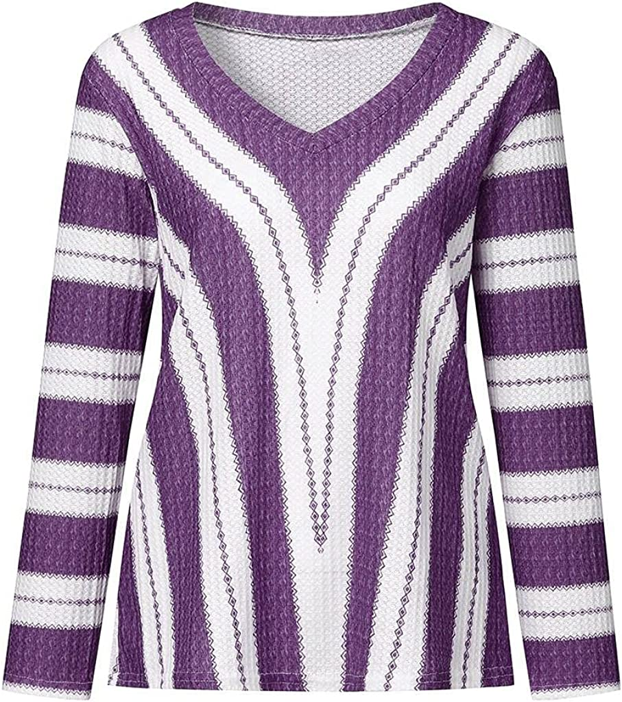 FABIURT Sweaters for Women, Womens Fashion Long Sleeve Crew Neck Striped Color Block Casual Knit Pullover Sweater Tops