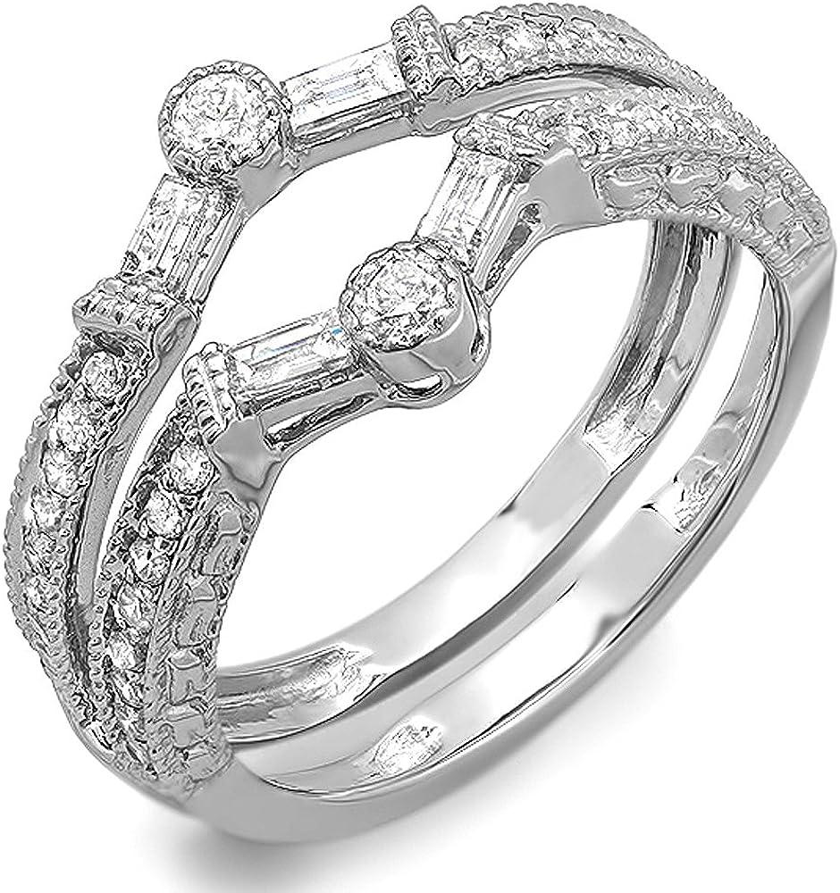 Dazzlingrock Collection 0.55 Carat (ctw) 14k Round & Baguette Diamond Anniversary Wedding Enhancer Guard Band 1/2 CT, White Gold