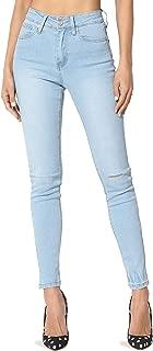 Basic 5 Pocket Mid High Waist Dark Blue Wash Stretch Denim Skinny Jeans