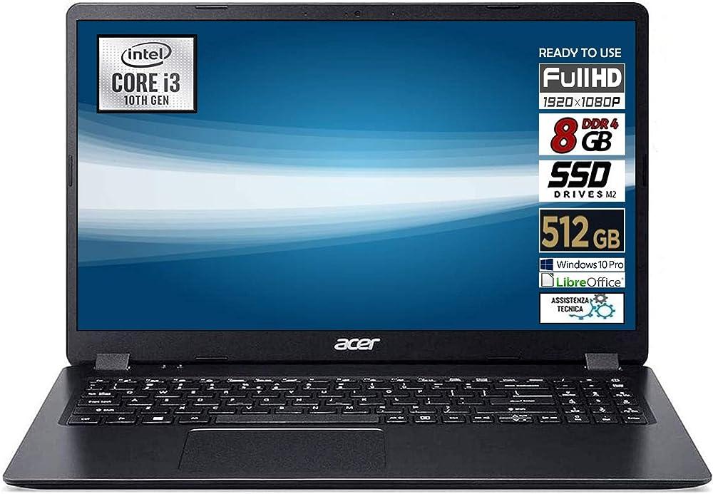 Notebook portatile Acer Intel Core i3  SSD M2 da 512gb, Ram 8Gb DDR4 Extensa.15