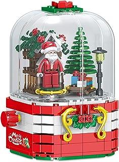 Christmas Building Block Toy With Rotating Led Lights, Music Box Building Blocks Santa Claus Dust Cover 348pcs Bricks, 3D ...