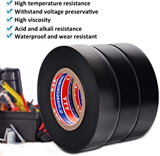 Electrical Insulation Tape PVC Insulating Tape Black 0.75IN 65FT 3 Roll -FraFong