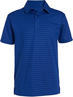 NAUTICA Boys' Active Short Sleeve Performance Embossed Striped Polo