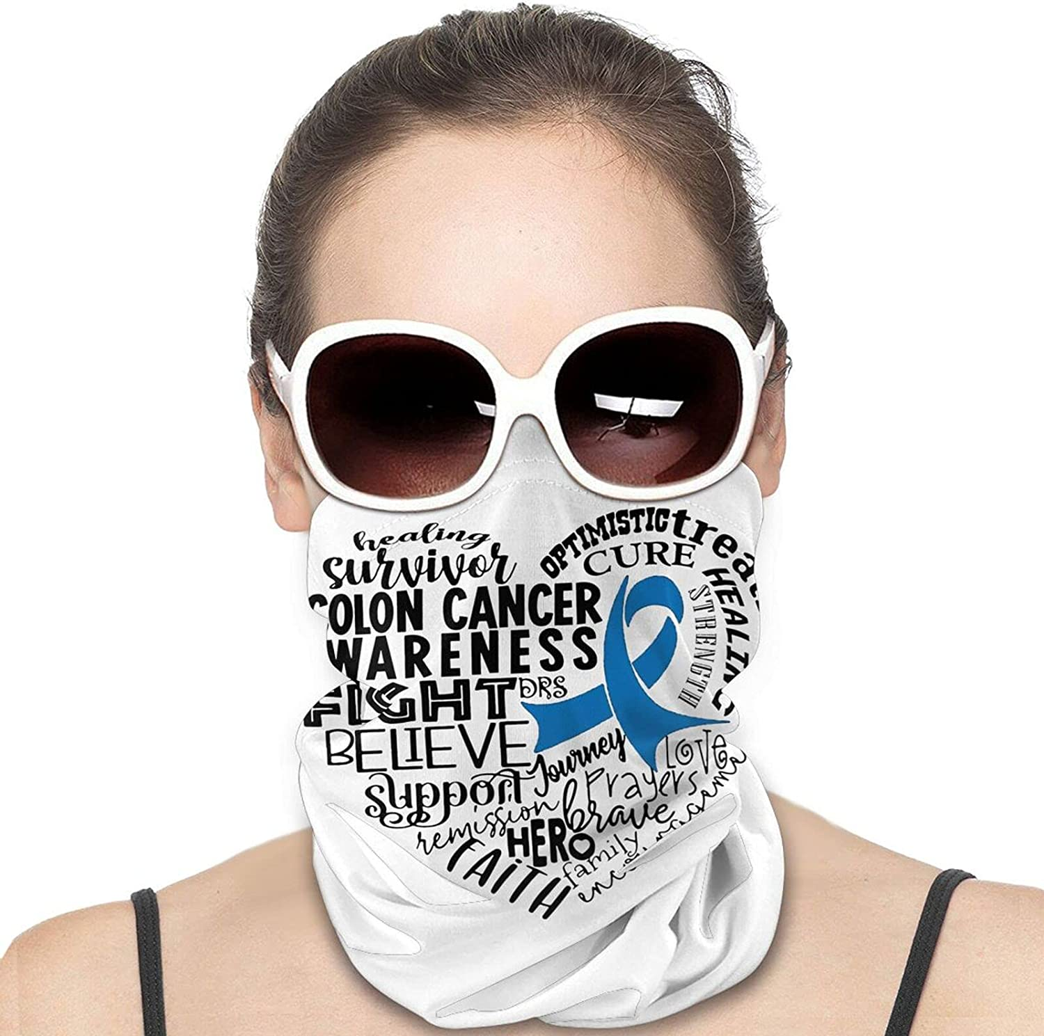 Colon Cancer Awareness Heart Blue Ribbon Round Neck Gaiter Bandnas Face Cover Uv Protection Prevent bask in Ice Scarf Headbands Perfect for Motorcycle Cycling Running Festival Raves Outdoors