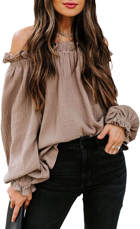 BLENCOT Blusa de Mujer con Cordón Camisa de Manga Larga con Cuello en V/Hombros Descubiertos Camisa de Mujer Tops de Color Sólido Puño con Volantes Sudadera Informal de Moda Ligera 6 Colores S-XXL