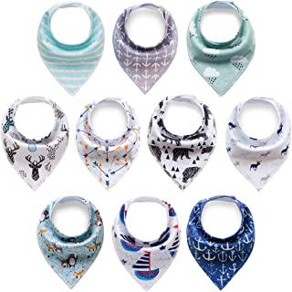 Cherub 10-Pack Baby Boys Bandana Drool Bibs for Drooling and Teething Perfect Baby Shower Gift Set