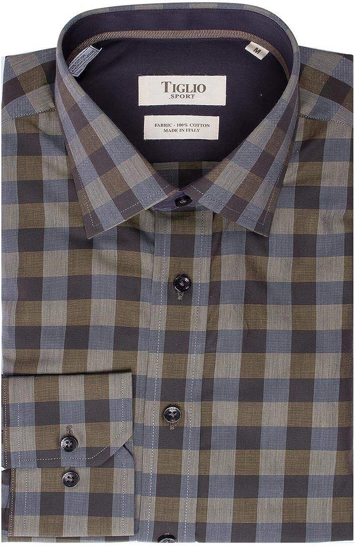 Tiglio Olive Checkered Fit Sport Shirt Sport V-43162