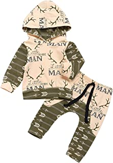 Oklan Newborn Baby Boy Clothes Little Man Printing Long Sleeve Hoodie with Pants Outfits Sets