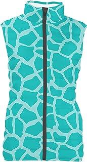 Rainbow Rules Bright Giraffe Print Womens Puffer Vest Bodywarmer Gilet