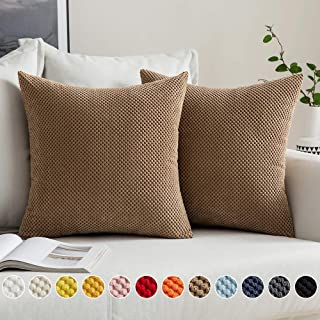 MIULEE Pack of 2 Decorative Throw Pillow Covers Soft Farmhouse Pillow Shams Corduroy Corn Design for Couch Sofa Bed 18 x 18 Inch Brown